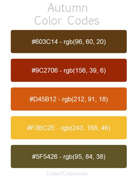 Autumn Color Palette - Fall Hex and RGB Color Codes