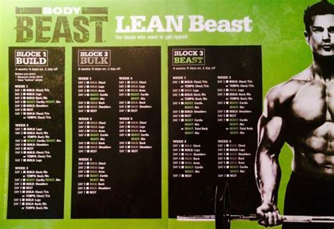 The Lean Beast Workout Calendar Schedule for the Body