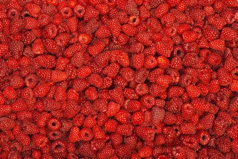 Photo Texture Red Raspberry Food Berry Many
